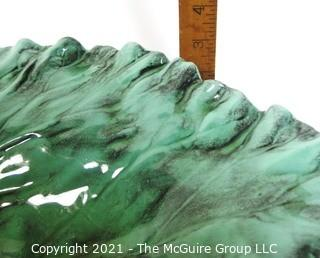 "Large Green Pottery Bowl made by Royal Hickman for Haeger Pottery.  Measures approximately 18"" long."