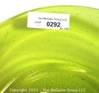 """Hand Blown Green Glass Bowl Made in Venice.  Measures approximately 17"""" in diameter."""