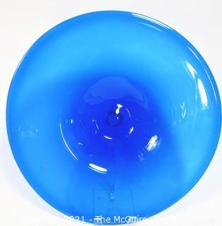 """Artisan Made Hand Blown Cobalt Blue Shallow Bowl Charger Made in Seattle, Washington.  Measures approximately 17"""" in diameter."""