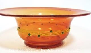 "Hand Blown Orange Glass Bowl with Metal Threads and Beads.  Measures approximately 15"" in diameter."