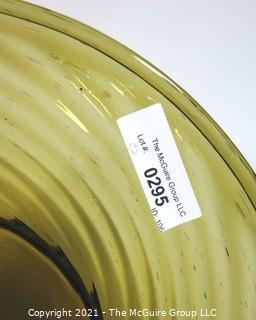 """Hand Blown Green Glass Charger with Swirl.  Measures approximately 17"""" in diameter."""