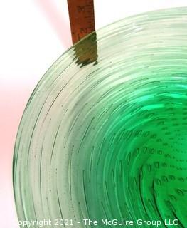 """Hand Blown Green Glass Shallow Bowl Made in Venice Circa 1920 in Swirl Pattern with Bubbles.  Measures approximately 14"""" in diameter."""