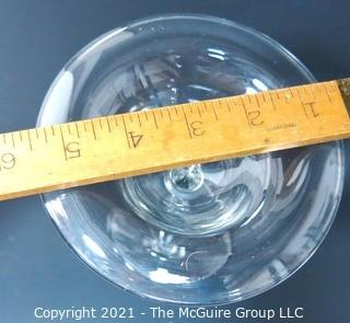 """Hand Blown Clear Glass Coupe.  Measures approximately  6"""" in diameter at top."""