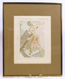 "Framed Under Glass Color Wood Engraving Entitled ""Charon et le Passage de l'Achéron"" by Salvador Dali, Block Signed. Measures approximately 16"" x  20"" in frame."