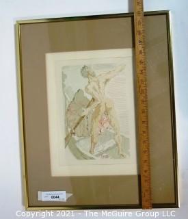 "Framed Under Glass Color Wood Engraving Entitled ""Charon et le Passage de l'Achéron"" by Salvador Dali, Block Signed. Measures approximately 16"" x  20"" in frame."