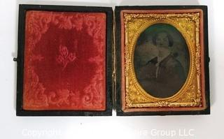 "Antique Daguerreotype Plate Photograph Of A Woman in Velvet Line Case.  Measures approximately 3"" x 2 1/2""."