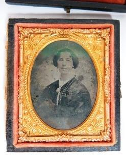 "Antique Daguerreotype Plate Photograph Of A Woman in Velvet Line Case.  Measures approximately 3"" x 2 1/2""."