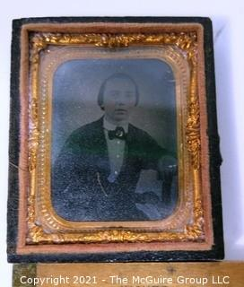 Antique Daguerreotype Plate Photograph Of A Man with Tinted Cheeks in Velvet Lined Hard Case.