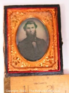 """Antique Daguerreotype Plate Photograph Of A Bearded Man in Velvet Lined Hard Case.  Measures approximately 3"""" x 2 1/2""""."""