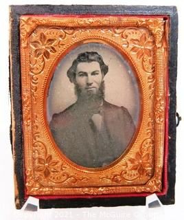 "Antique Daguerreotype Plate Photograph Of A Bearded Man in Velvet Lined Hard Case.  Measures approximately 3"" x 2 1/2""."