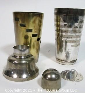 Vintage Silver Plate Cocktail Shaker with Dial a Drink Recipes on Side.