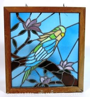 "Framed with Hanging Hooks Stained Glass Window Pane of Parakeet in Tree,  Measures approximately 21"" x 24""."