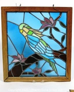 """Framed with Hanging Hooks Stained Glass Window Pane of Parakeet in Tree,  Measures approximately 21"""" x 24""""."""