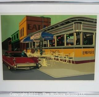 """Framed Under Glass Signed and Numbered Lithograph Print Entitled """"Empire Diner, Manhattan"""" by Achyenne J Beck.  Measures approximately 28"""" x 10""""."""