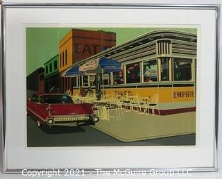 "Framed Under Glass Signed and Numbered Lithograph Print Entitled ""Empire Diner, Manhattan"" by Achyenne J Beck.  Measures approximately 28"" x 10""."