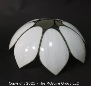 "Vintage White Tulip Form Slag Glass Chandelier Style Lamp Shade, 17"" wide at tips."