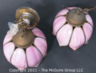 "Pair of Ceiling Mount Chandeliers with Pink Tulip Form Slag Glass Shades. They measure approximately 11"" in diameter x 8"" tall.  One chandelier is missing ceiling mount hardware and cap."
