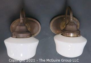 Pair of Vintage Wall Mount with Milk Glass Shade Electric Light Fixtures.