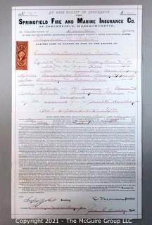 Springfield Fire & Marine Insurance Policy with Tax Stamp, circa 1874