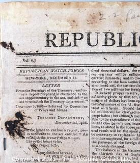 The Republican Watch Tower Newspaper, circa 1806.