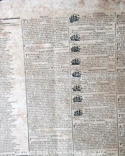 Columbian Centinel & Massachusetts Federalist Newspaper Published in Boston, circa 1803.