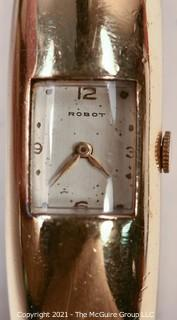 Watch: Vintage women's gold-tone hinged bracelet watch by Robot (untested)