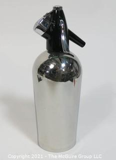 Vintage Art Deco Chrome with Black Top Soda Siphon by Sparklets BOC Made in England.