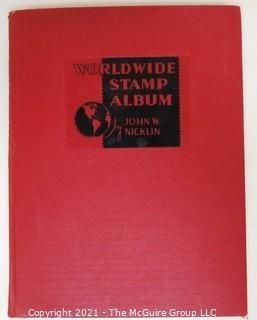 Vintage 1938 Worldwide Stamp Album by John W. Nicklin  Full of Older Stamps