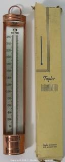 Vintage Taylor Candy/Jelly brass and glass thermometer w/box