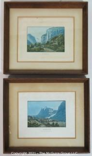 Two framed colored lithographs: Grindenwald and Staubbach Switzerland