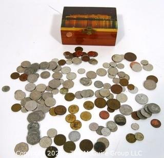 Collection of Vintage Foreign Coin Money with Kennedy Center Trinket Box,