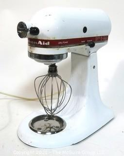 White Kitchen Aid Mixer Model Number KSM90 with One Wire Whisk.  Working
