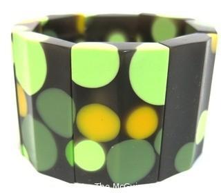 Vintage Bakelite Polka Dot Stretch Bracelet
