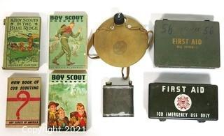 Group of Boy Scouts of America Items and First Aid Kits.