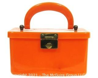 Vintage Amber Color Bakelite Box Style Handbag with Latch Closure.