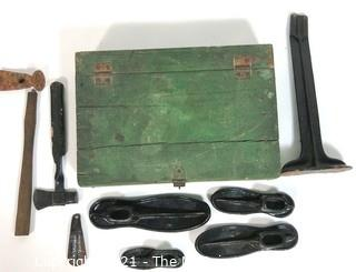 Shoe Maker's Tool Kit in Green Wooden Box.