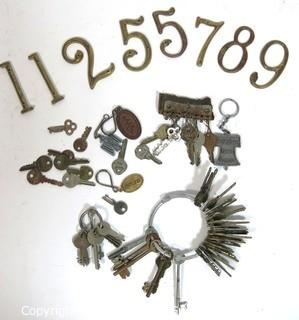 Collection of Vintage Keys and Metal House Numbers