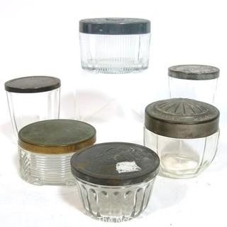 Collection of Vintage Glass Jars with Metal Lids.  Includes Snuff, Vanity and Cannng.