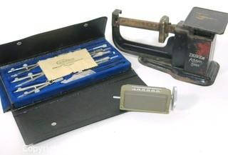 Vintage Airmail Postage Scale, Mechanical Counter and Drafting Tools Set.