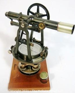 Vintage Warren Knight Co Sterling Transit Brass Surveying Scope Tool Mounted on wooden Base.