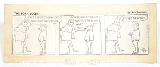 "Original Mockup ""The Born Loser"" Cartoon strip by Art Sansom. Measures approximately 12"" x 10""."