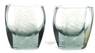 Bohemian Czech Art Deco Clear Cut Glasses
