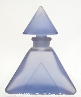Bohemian Czech Art Deco Lavender  Glass  Perfume Bottle with Dobber.