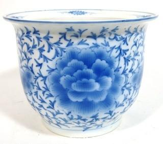 "Large Heavy Asian Blue and White Porcelain Planter.  Measures approximately 12"" in diameter and 9"" tall"