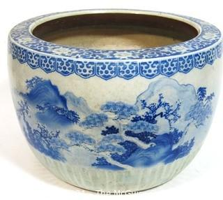"Large Heavy Asian Blue and White Porcelain Planter.  Measures approximately 17 1/2"" in diameter and 12 1/2"" tall"