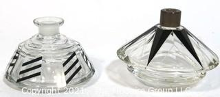 Two Karel Palda Bohemian Czech Art Deco Clear Cut Glass With Black Accents Decanters or Perfume Bottles.  Missing Daubers.