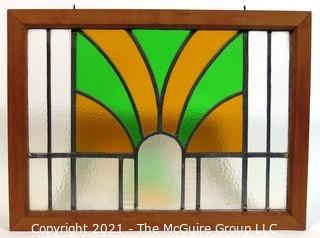 "Vintage Art Deco Designed Stained Glass Window.  Measures approximately 19"" x 25""."