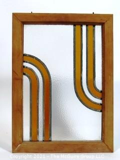 "Vintage Art Deco Designed Stained Glass Window.  Measures approximately 19 1/2"" x 14""."