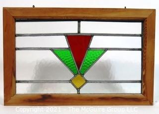 "Vintage Stained Glass Window.  Measures approximately 20"" x 14""."