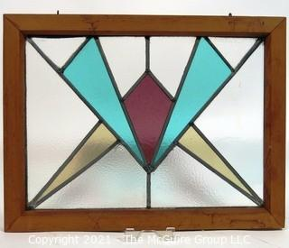 "Vintage Art Deco Designed Stained Glass Window.  Measures approximately 21"" x 17""."